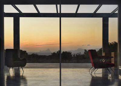 impressive view on es vedrà sunset from the veranda of villa luz in cap de barbaria formentera