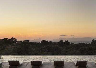 breath taking sunset from the terrace of villas luz in cap de barbaria formentera