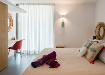 luxury bedroom with mirrors in formentera