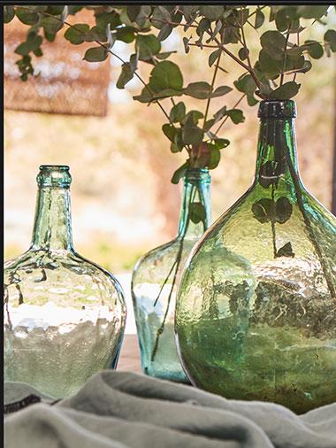 glassy jars with green shades nature villa ines formentera