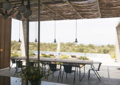 beautiful reflection of the roof on table in villa luz in cap de barbaria in formentera