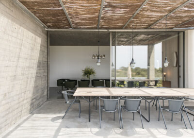 beautiful outside dining space for multiple guests in villa luz in cap de barbaria in formentera
