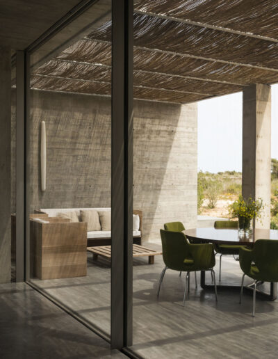 opening on terrace facing the swimming pool of villa luz in cap de barbaria in formentera