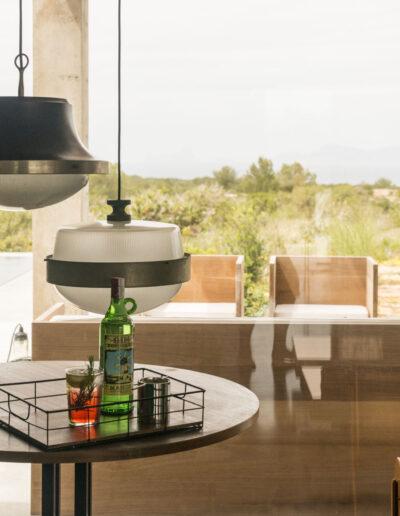 lights details in the corner of the relaxing area in luxury villa luz in cap de barbaria