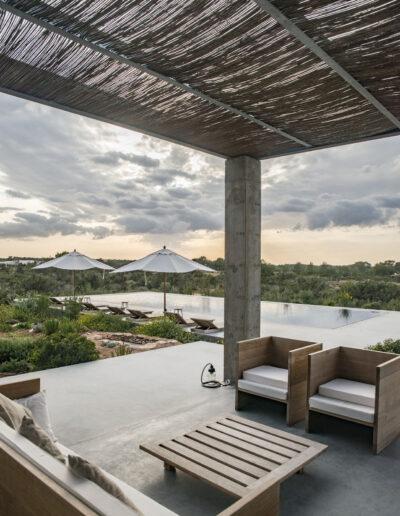 roofed terrace with view in luxury villa luz in cap de barbaria