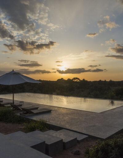magnificent golden hour view from the sundeck area of villa luz in cap de barbaria in formentera
