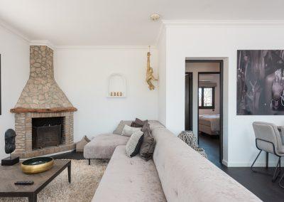 rustic fireplace room formentera retreat