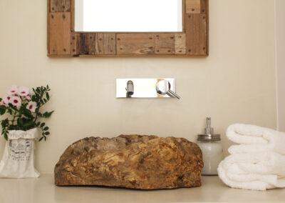 villa sueño bathroom with expensive sink details in la mola, formentera