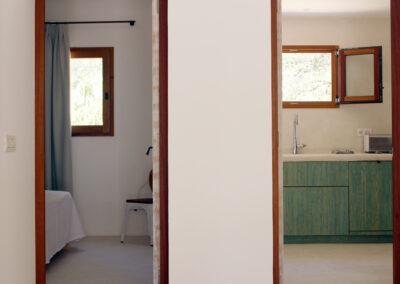 cooking area and sleeping area entrances in villa sueño in la mola formentera