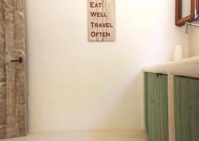 eat healthy sign in kitchen area of nice Formentera villa sueño