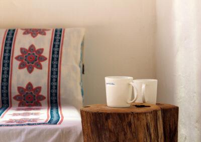 formentera style sofa in chilling area of villa sueño in la mola