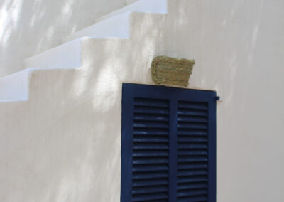 stairs and blue door leading to sunny terrace in villa sueño in formentera