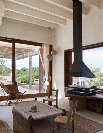 beautiful area with a chimney in formentera villa bohemian