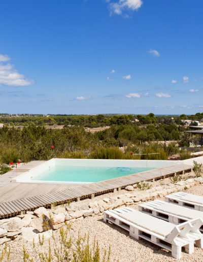 pretty and nice tanning area by the swimming pool in formentera, villa bohemian