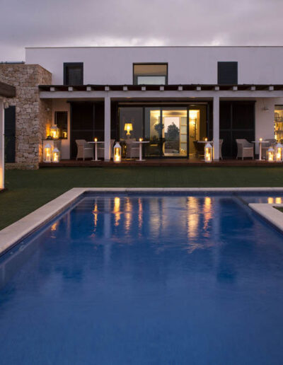 sun setting on the deck of this luxury villa Soleil for rent in formentera