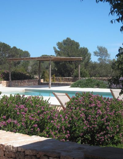 typical view of a garden with pool in formentera