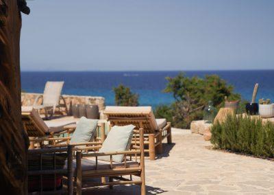 marvellous outdoor seating area towards the sea villa Om