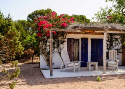 terrace of the guest dependence with sitting area in villa casanita, luxury villa in formentera
