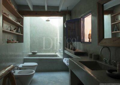 elegant bathroom of the patronal bedroom of villa casanita in formentera island