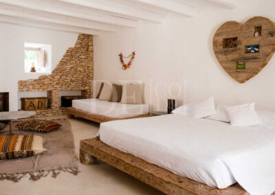 fire space in the suite and sleeping area of villa casanita, summer holidays perfect spot in formentera