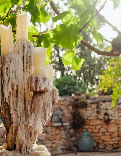 wax details in the charming decorations of luxury villa casanita for rent in formentera