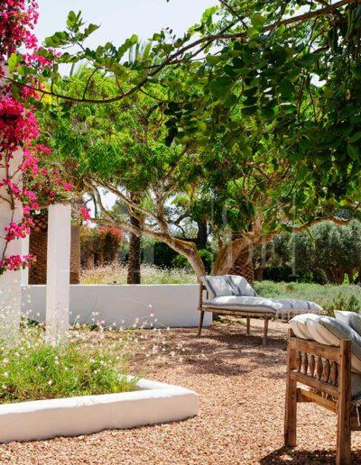 relaxing sofas on the sun deck of villa casanita, luxury rental in formentera