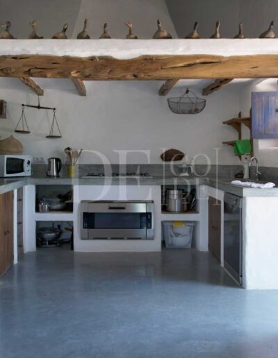 cooking area in stunning villa casanita, property for summer holidays in Formentera