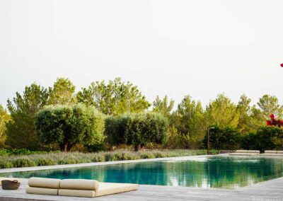 swing pool with sun beds for amazing summer days in villa casanita for rent in sant francesc area in formentera