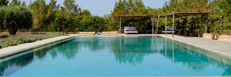 side shot of villa casanita's swimming pool, a luxury property for rent in formentera in sant Francesc area