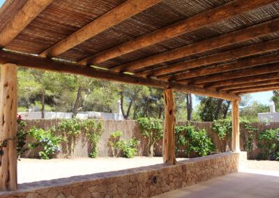 back view of garden in villa sueño in la mola formentera