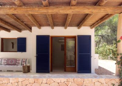 Kitchen view from outside of charming villa sueño in la mola formentera