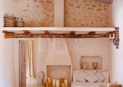 details of the lovely living room for rent of villa Barbara, located in sant francesc, formentera
