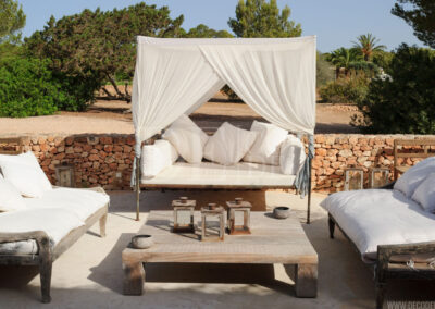 luscious bed for taking the sun on the patio of this beautiful villa Barbara for rent in formentera
