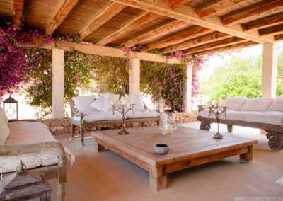 sofas and details of this cozy porch in villa Barbara, luxury summer rental in sant francesc, formentera