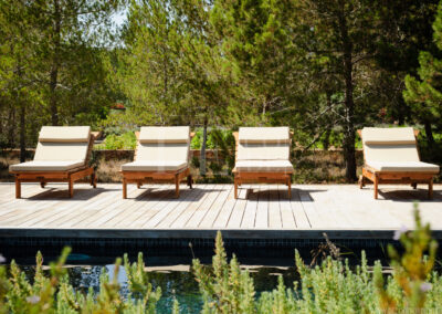 beautiful decks by the pool for relaxing and taking the sun in villa Barbara, summer rental property in formentera