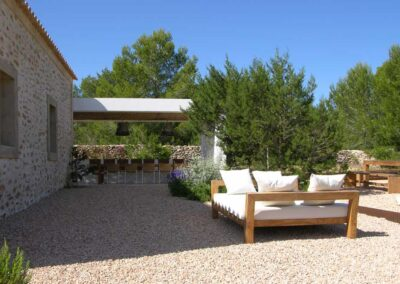 fancy atrium at villa es vedra with big sofa with white pillows
