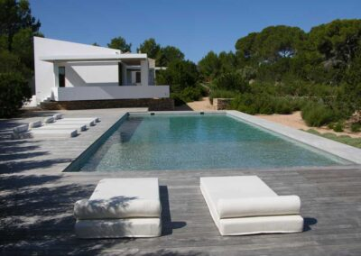 impressive shoot of a different angle of the pool at villa es vedra formentera