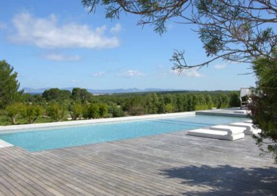 amazing pool view with hills on the background of villa es vedra can perra