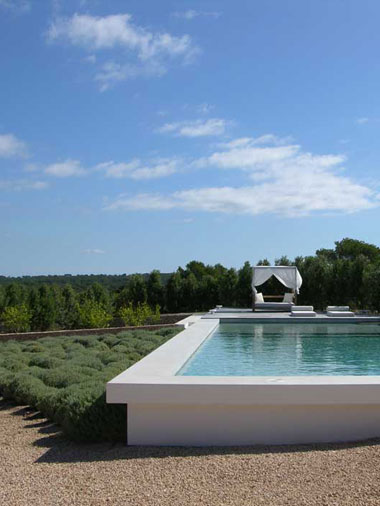 magnificent orizzontal view of the swimming pool in villa es vedra