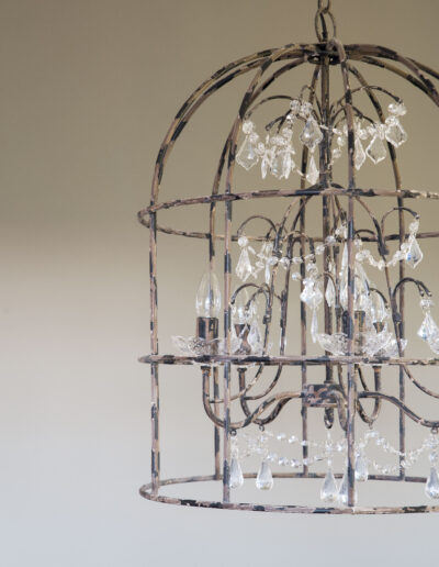 lamp made of crystals in the beautiful villa Soleil for rent in formentera
